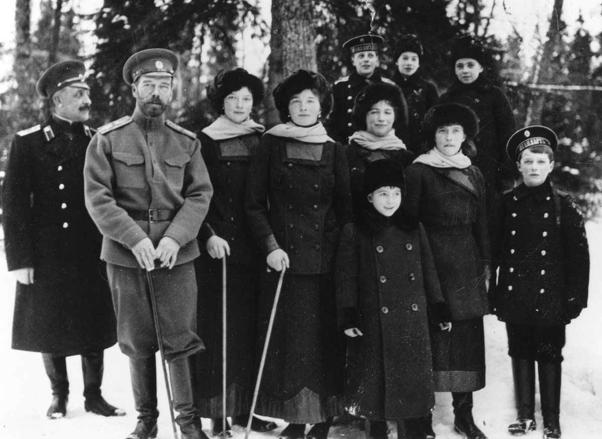 Tsar Nicholas II with his children and nephews in 1915