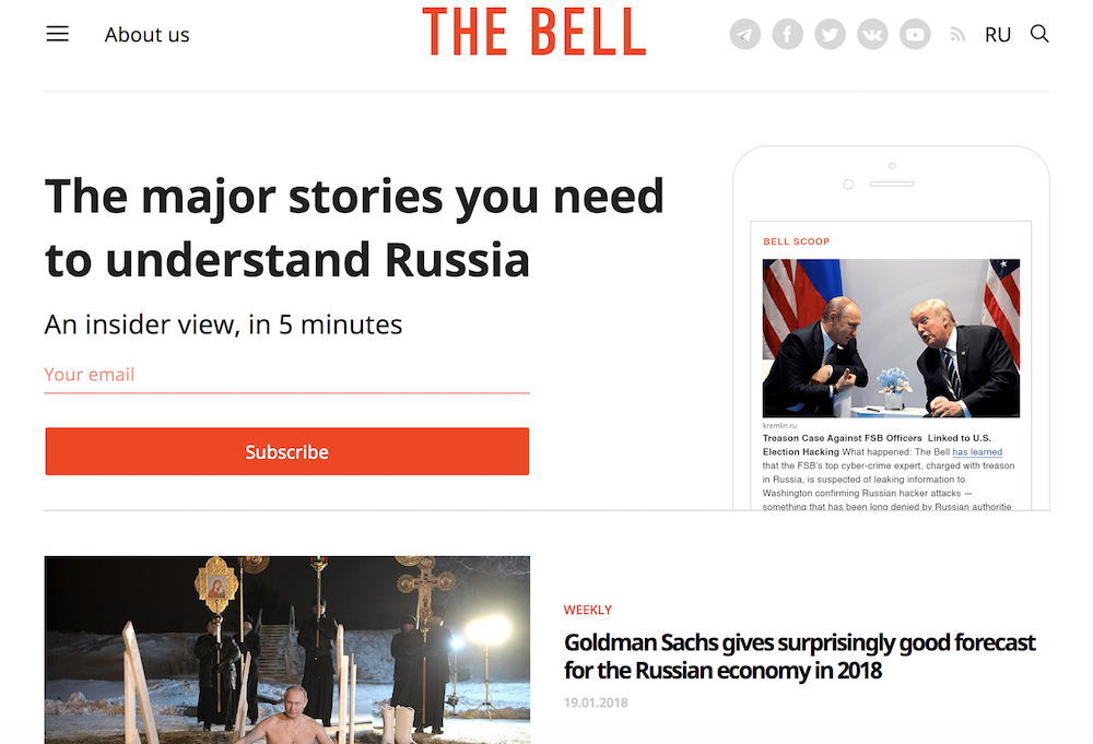 Screenshot of The Bell's English-language homepage