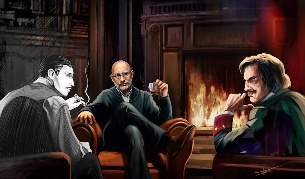 Akunin in conversation with the two subjects he spent most of his time writing about in 2017: Erast Fandorin and Peter the Great. Image: borisakunin / Facebook