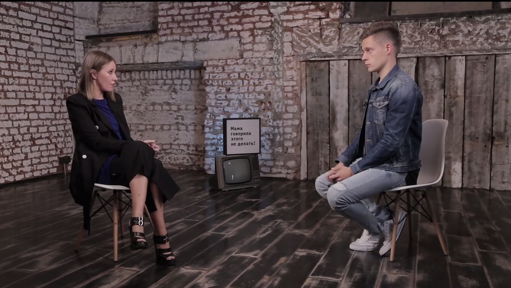 A screenshot of YouTube celebrity Yuri Dud interviewing socialite and presidential candidate Ksenia Sobchak in 2017