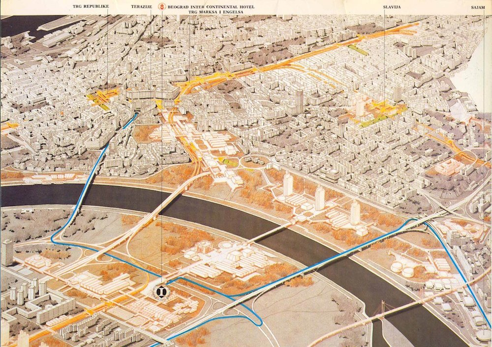 Map of Belgrade from the 1980s, showing planned urban developments (Ministarstvo Prostora/FB)