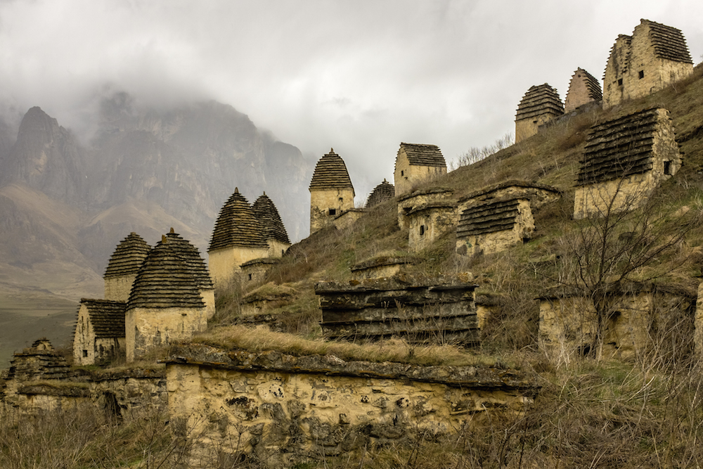 Traditional crypts in the North Ossetian region of Dargavs. Image: Sergey Norin under a CC licence
