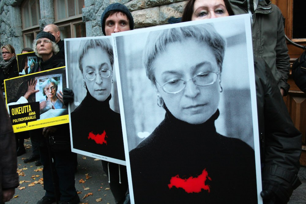 Protest outside the Russian embassy in Helsinki following Anna Politkovskaya's murder in 2014. Image: amnesty Finland under a CC licence