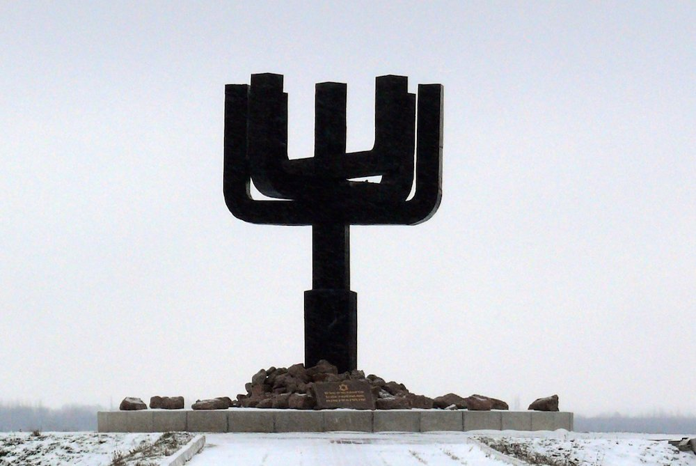The Drobitskiy Menorah, a memorial at Drobitskiy Yar, a ravine outside Kharkiv where over 16,000 Jews were murdered during the Holocaust