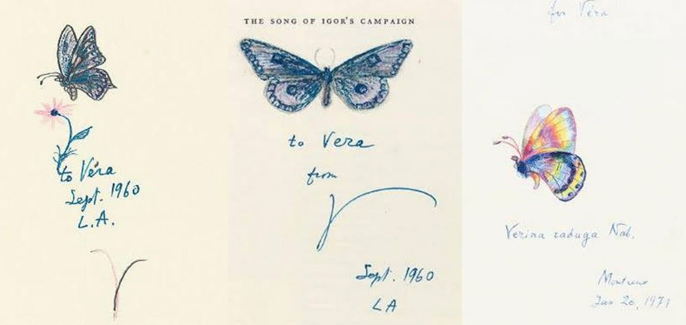 A collection of butterfly sketches by Vladimir Nabokov dedicated to his wife Vera. Image: Vladimir Nabokov / Facebook