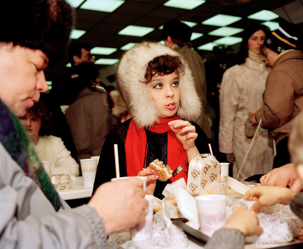First McDonald's in Moscow (1992). Photograph: Martin Parr/Magnum Photos