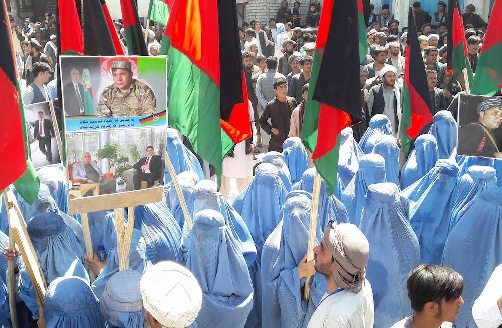 Screenshot of Afghan women taking part in a 2018 demonstration in Faryab Province