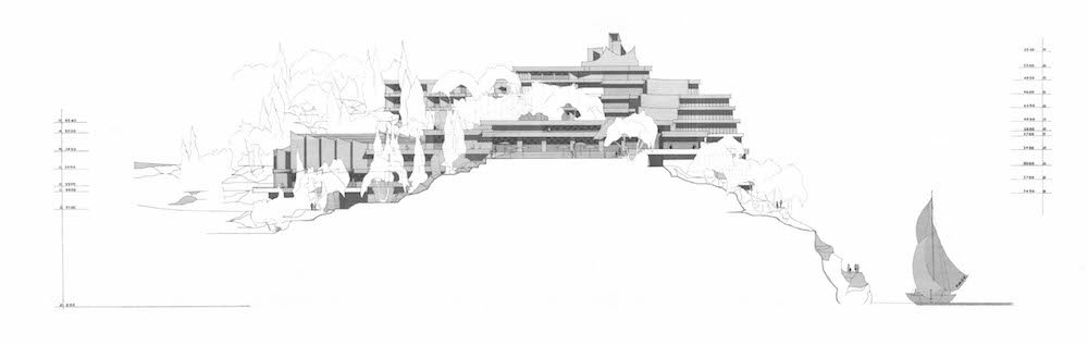 Elevation of Hotel Croatia, Cavtat. architect: Slobodan Miličević, 1973. Image: Architect Zoran Balog