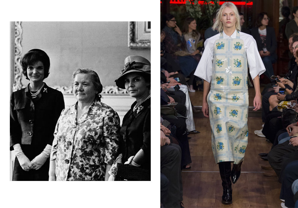 Nina Khrusheva at the White House visit in 1959 (left), Vetements SS 16 collection (right)