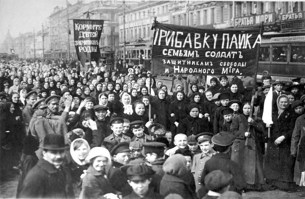 On the eve of the Russian Revolution in February 2017, a massive demonstration attended mainly by women marched through present-day St Petersburg protesting food shortages