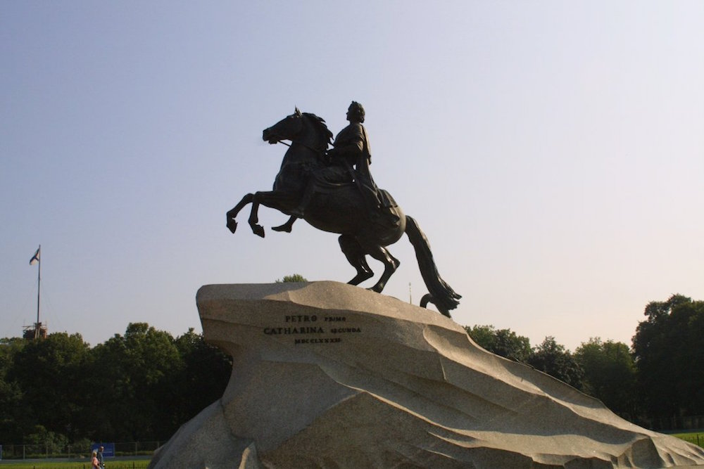 The statue to Peter the Great in St Petersburg, the inspiration for Pushkin's <em>The Bronze Horseman</em>. Image: Vinci71 under a CC licence