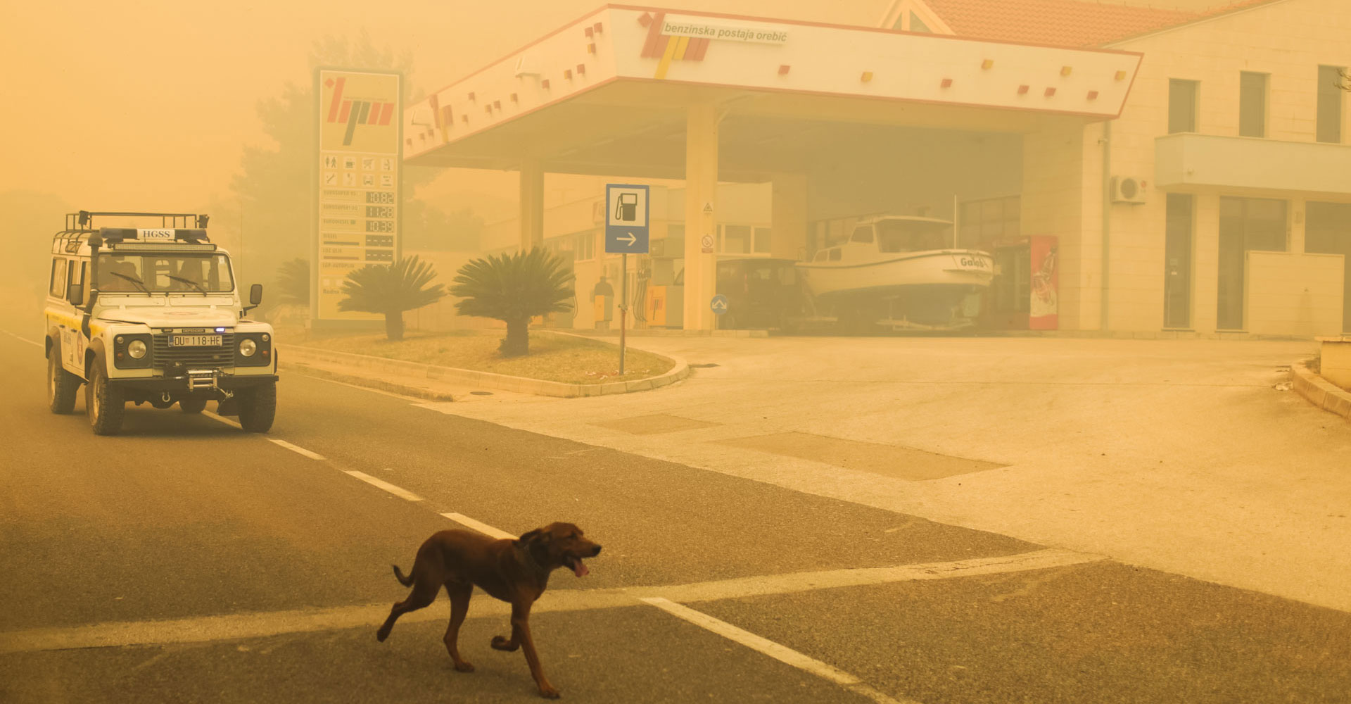 A forest fire in Croatia turns the coastline into a post-apocalyptic vision