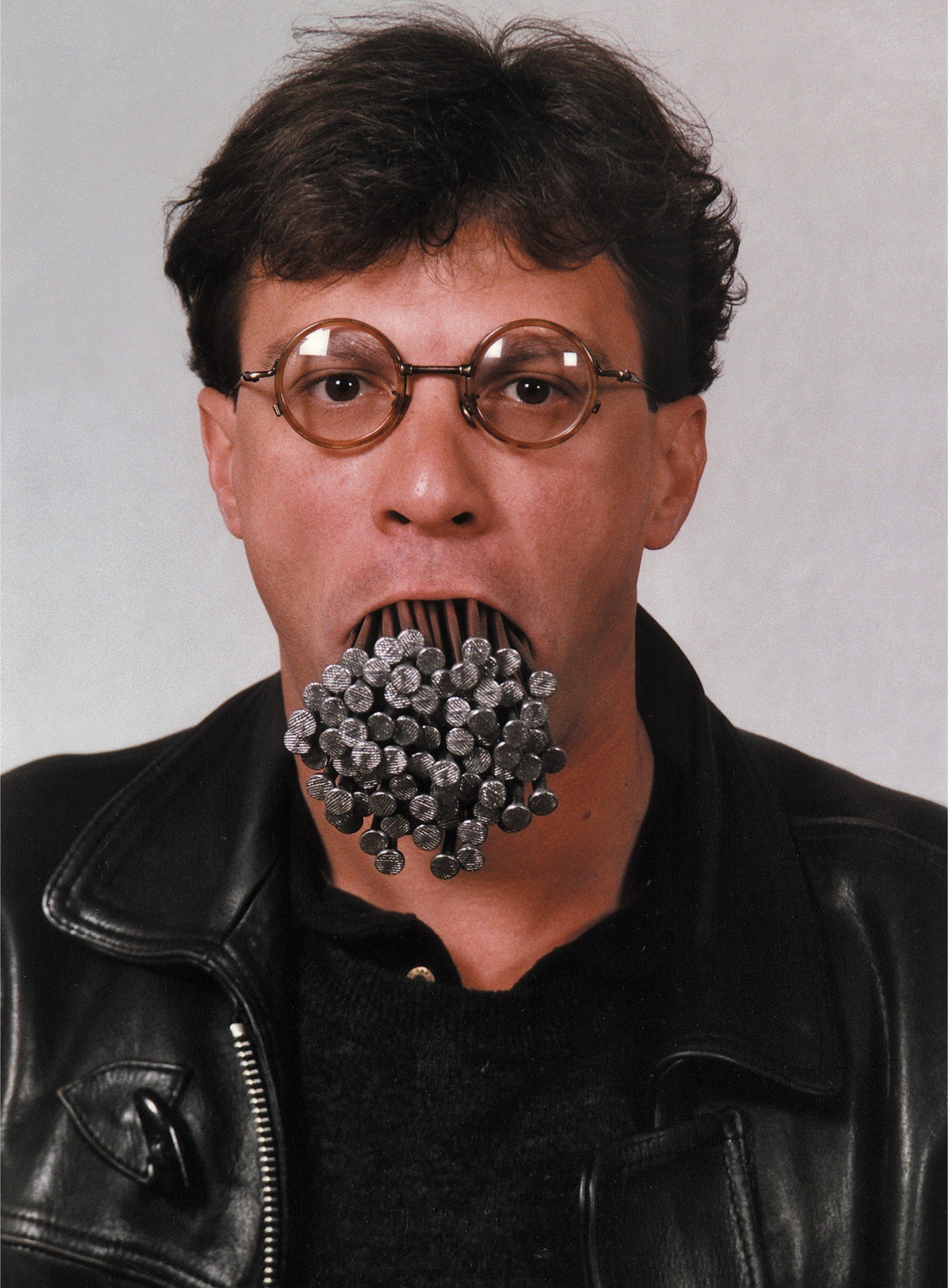 How many nails in the mouth? Self-portrait with 2kg 12.5 cm long nails in the mouth, 1992-1995, by Luchezar Boyadjiev
