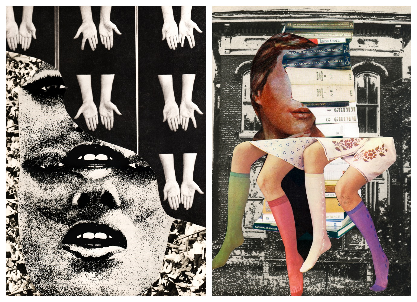 These thoughtful collages explore the female body and human dreams
