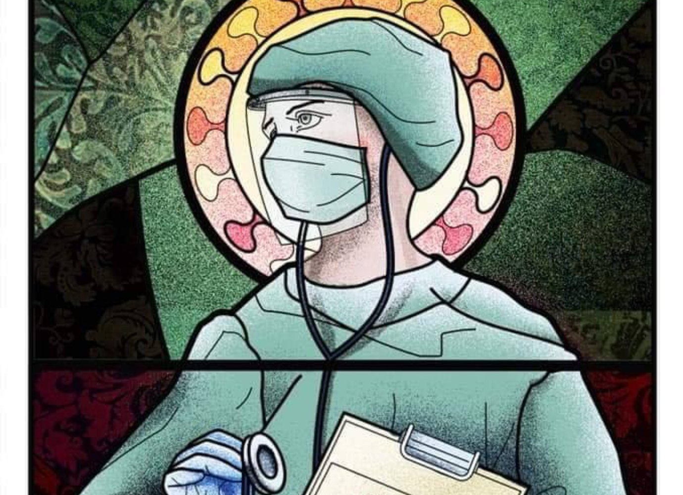 Posters depicting doctors and medical staff as saints deemed 'satanist' in Romania