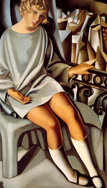 Tamara de Lempicka, Kizette on the Balcony (1927). ©Tamara de Lempicka / Wikiart