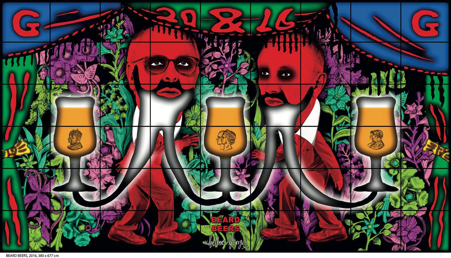 Image: Gilbert and George, BEARD BEERS, 2016. Courtesy of Galerie Thaddaeus Ropac