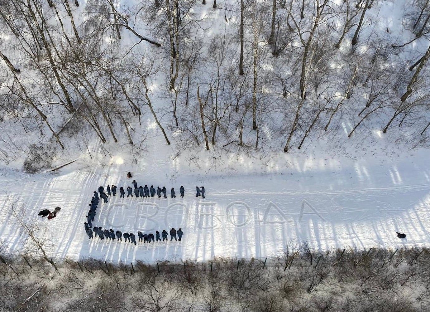 Russian photographer detained and fined after spelling out the word 'freedom' in snow