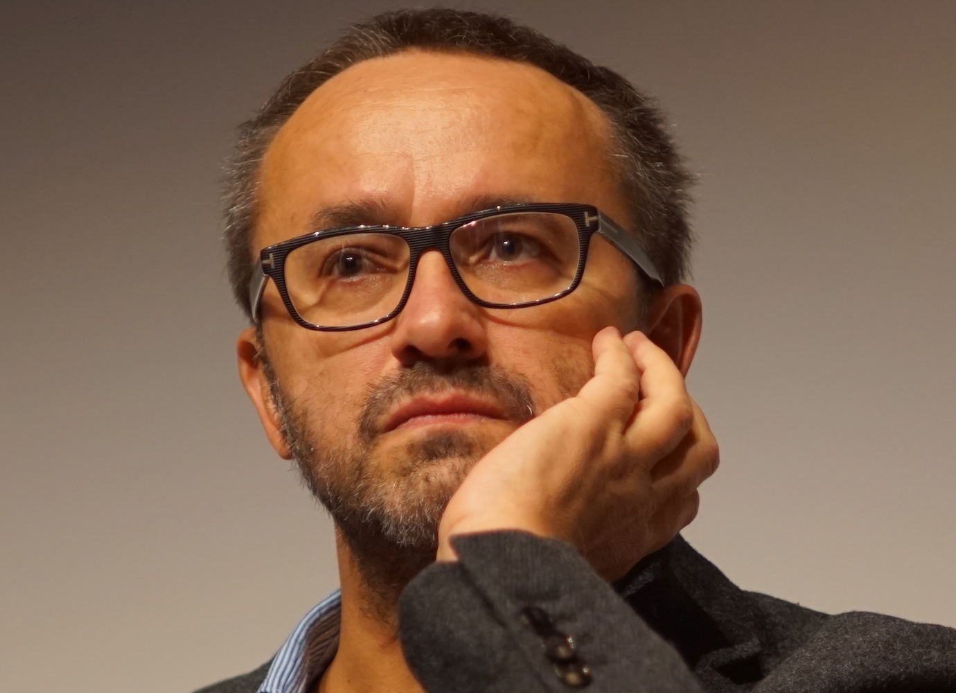 Russian director Andrei Zvyagintsev gives speech in support of Navalny in Novosibirsk
