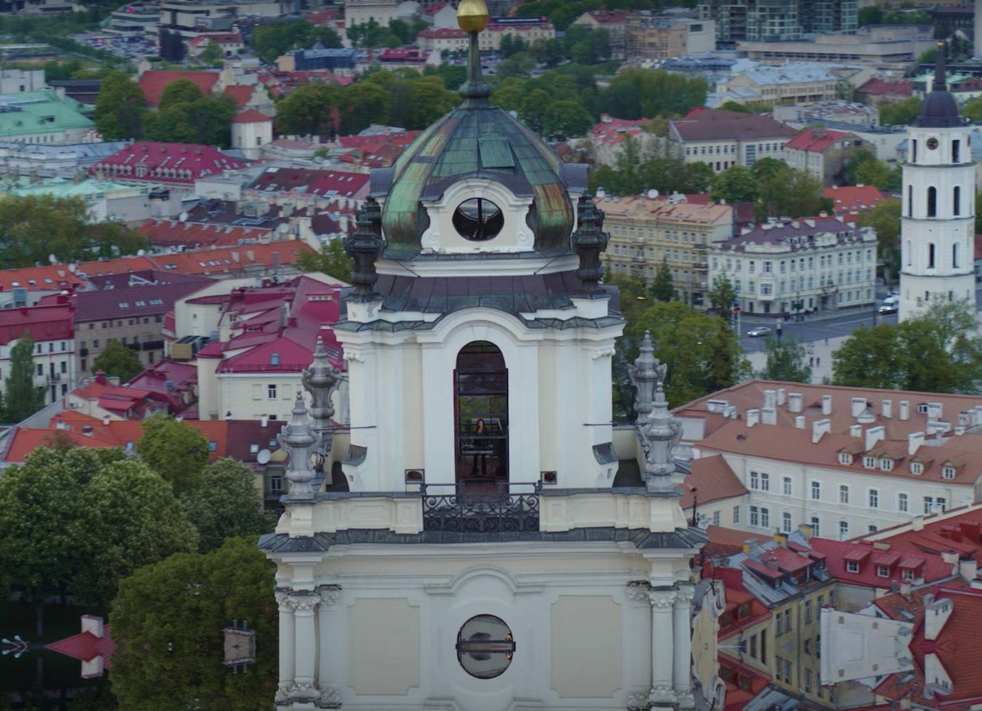 Listen to a 1-hour dark disco DJ set from a bell tower above Vilnius' Old Town