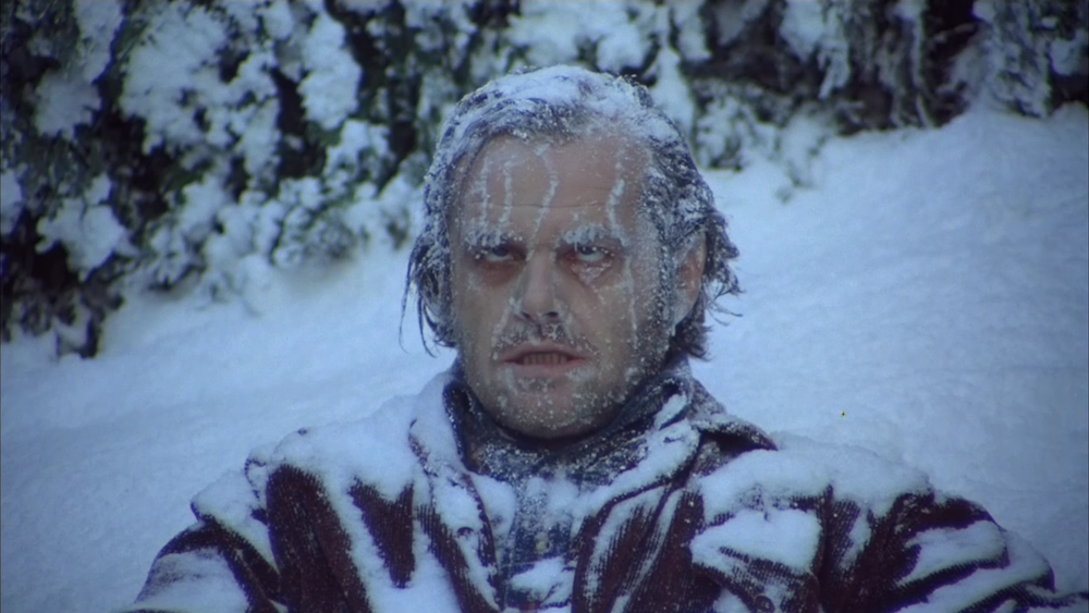 Jack Nicholson frozen in the snow, <em>The Shining</em> (1980)