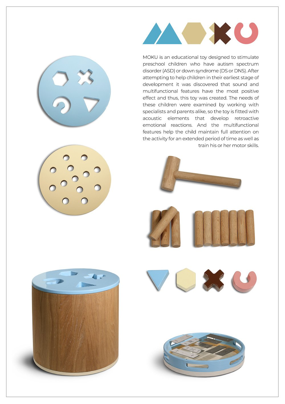 Moku, one of the winning social designs, is an educational acoustic toy to help children with autism or Down's syndrome regulate their emotions