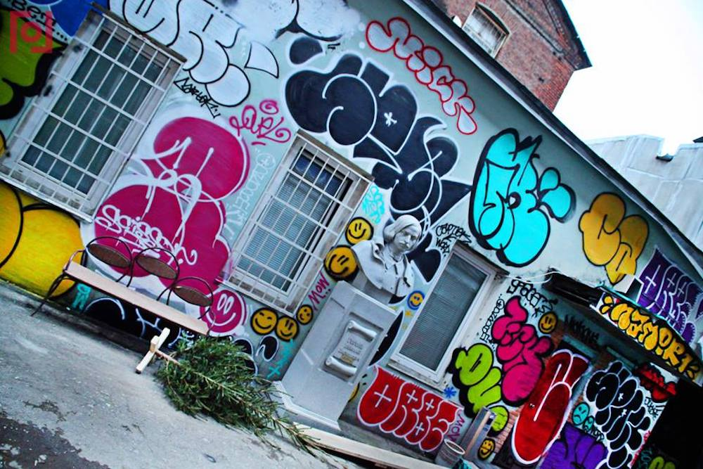 The graffitied wall behind the Gogol Centre. Image: Gogol Centre / Facebook