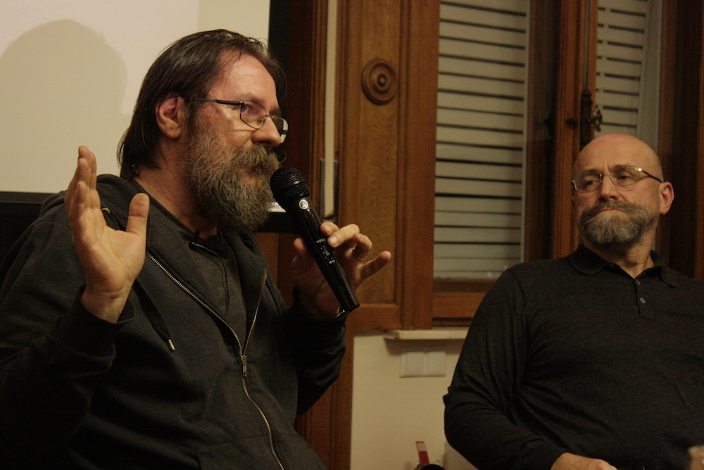 Dan Perjovschi (l) and Nedko Solakov (r) at Villa Noël CEREFREA, Bucharest, October 2015