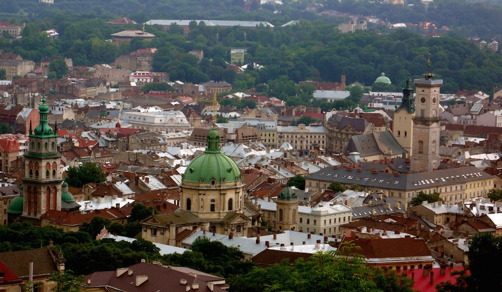 Lviv rooftops with Town Hall (right) (Image: mikesub under a CC licence)