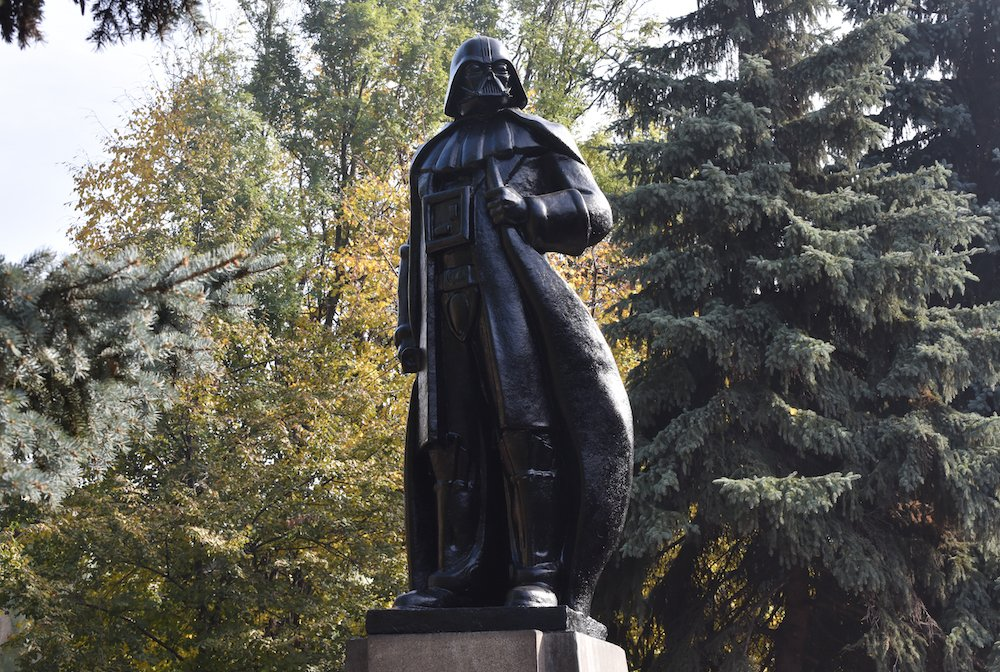 Monument to Darth Vader in Odessa, formerly a monument to Vladimir Lenin. Image: Denis Petrov