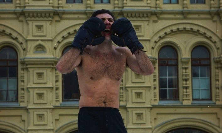Performance also known as <em>Boxing champion</em> by Alexander Brener (1995)