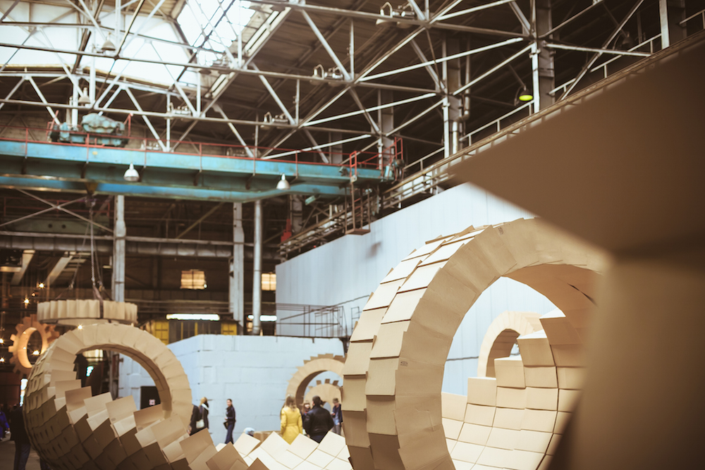 <em>Cogs</em> installation in the Uralkhimmash factory. Image: Aleksei Vatolin