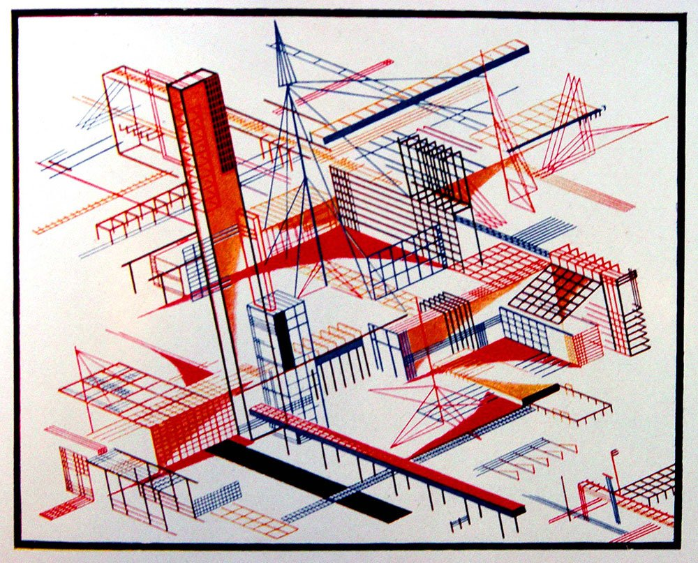 Constructivist architectural fantasies by Iakov Chernikhov, 1933. Le Corbusier's early work was a major source of inspiration for the Constructivists.