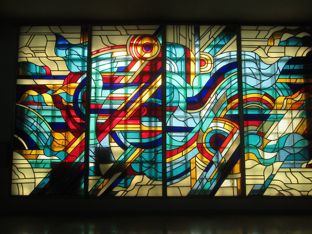 Stained glass at Dnipropetrovsk Hotel. Image: Owen Hatherley