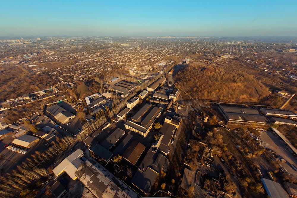 View over the former Donetsk insulation materials factory. Image: IZOLYATSIA