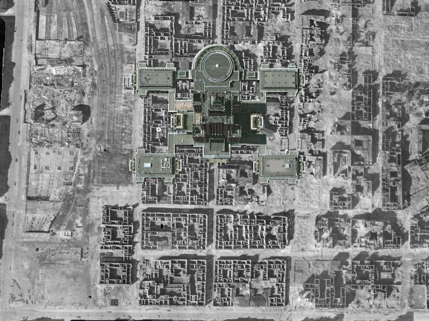 A bird's eye view of Warsaw's Palace of Culture superimposed onto aerial and satellite images of central Warsaw. Image: Google Earth