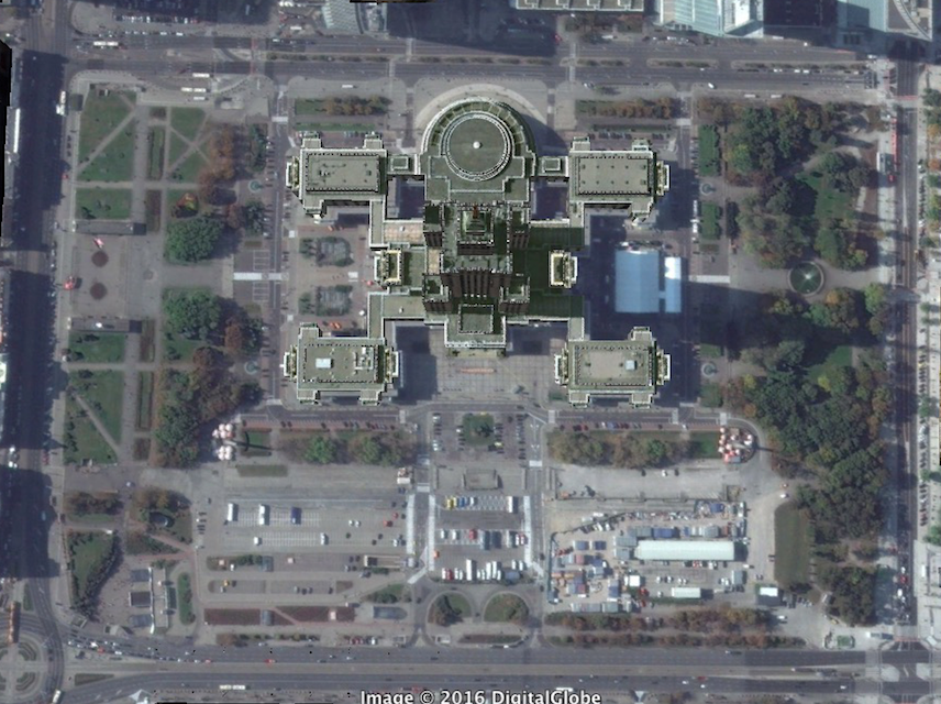 A bird's eye view of Warsaw's Palace of Culture. Image: Google Earth, copyright Digital Globe 2016