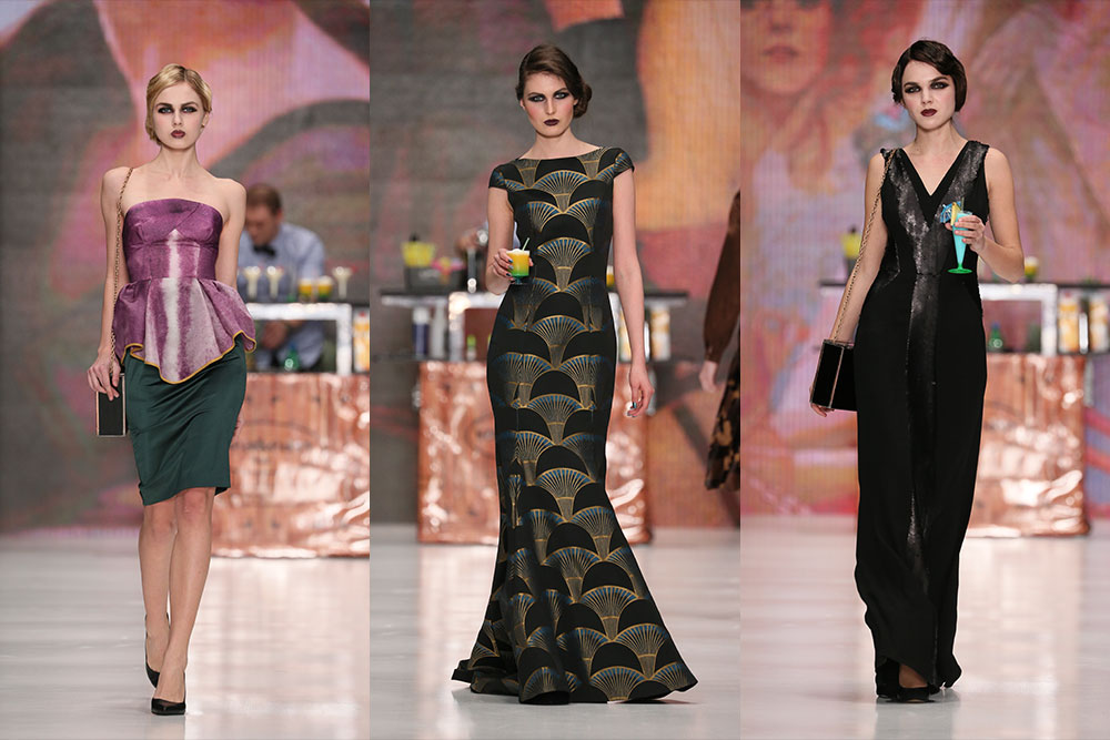 "Ksenia Knyazeva collection inspired by Gertrude ""Cleo"" Lythgoe. Image: Mercedes Benz Fashion Week Russia"