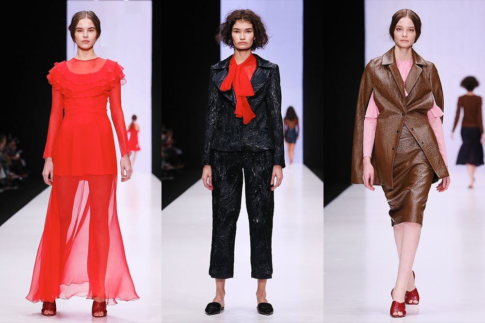 Yasia Minochkina collection inspired by Marlene Dietrich and artist Frida Kahlo. Image: Mercedes Benz Fashion Week Russia