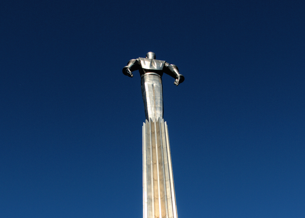 Yuri Gagarin stands on top of the monument in his honour in Moscow (image: Vtorou under a CC licence)