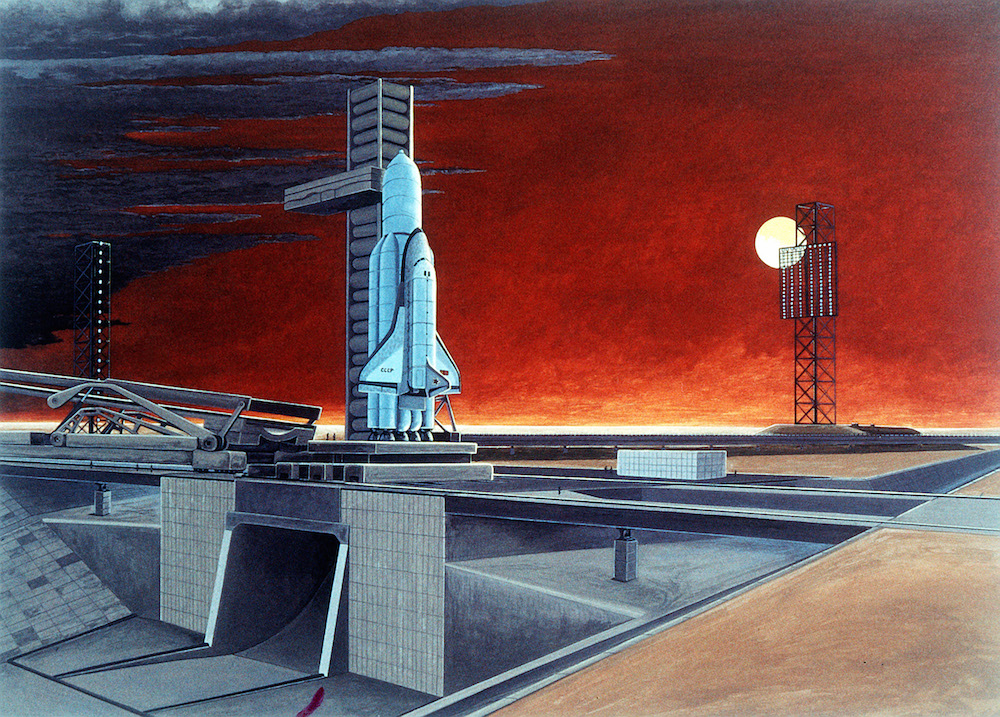 Artist's impression of a Buran space shuttle on a launchpad from 1984 (image: www.defensemilitary.com under a CC licence)