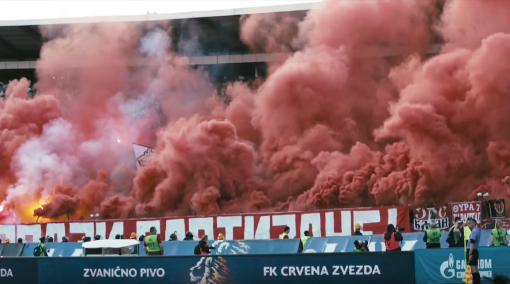 Fans let off smopke bombs at a Red Star — Partizan derby in 2015.  Image: COPA90/Youtube