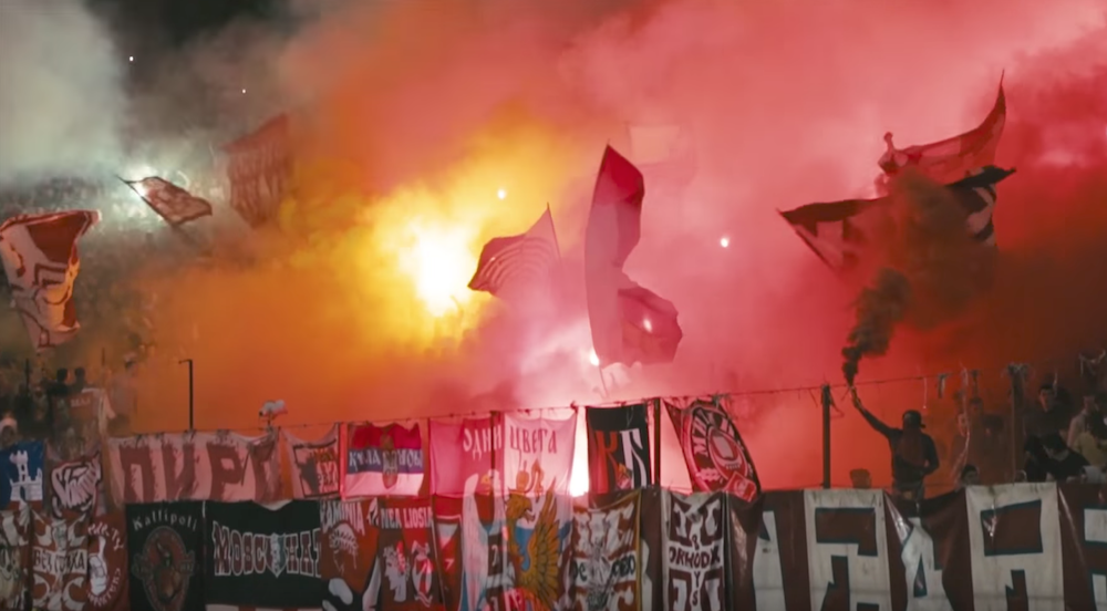 Red Star fans at the match. Image: COPA90/Youtube