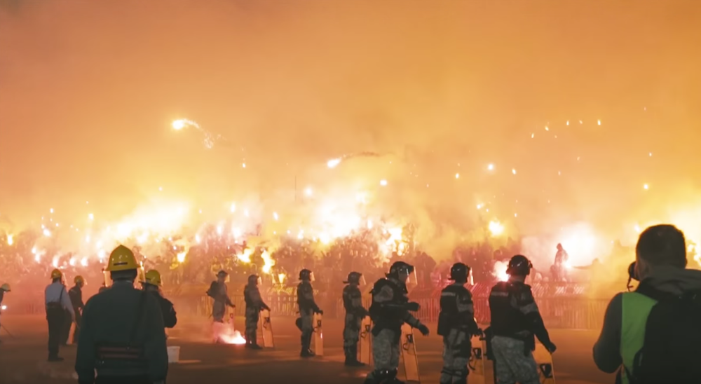 Fans let off flares and fireworks at a Red Star — Partizan derby in 2015. The match ended 0-0. Image: COPA90/Youtube