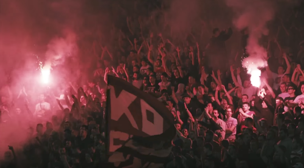 Partizan fans at the match. Image: COPA90/Youtube
