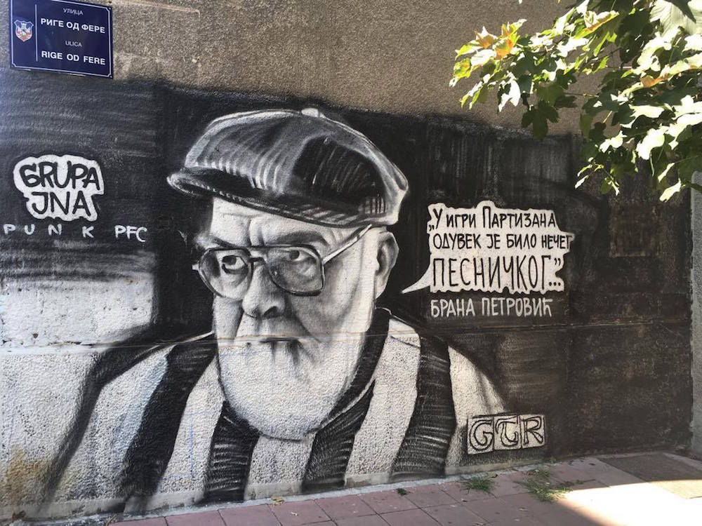 """In Partizan's play there was always something poetic..."" GTR graffiti of Serbian writer Brana Petrović in the Dorćol neighbourhood. Image: Staša Bajac"