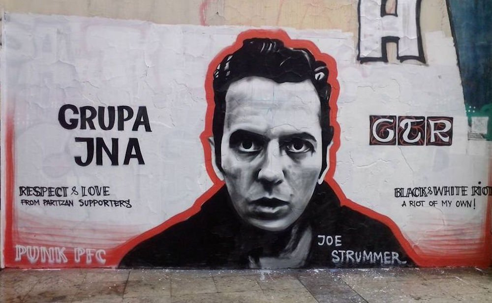 GTR graffiti of Clash frontman Joe Strummer. Image: espreso.rs