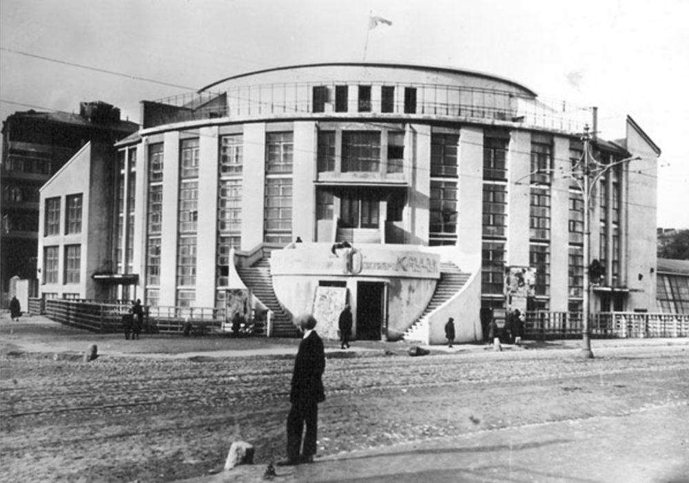 Konstantin Melnikov standing in front of his Kauchuk Factory Club (1929)