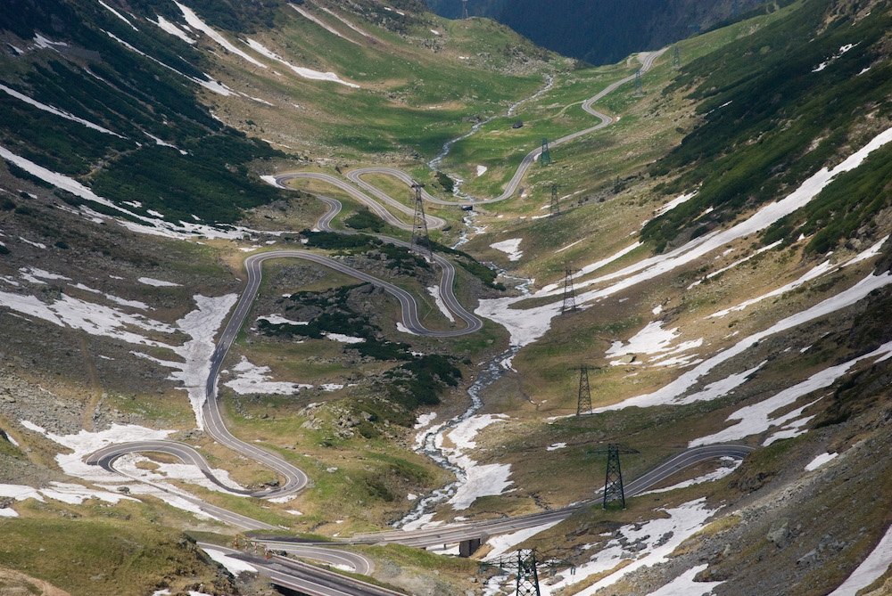 The Transfăgărășan winds through the Carpathians. Image: Howard Chalkeley under a CC licence