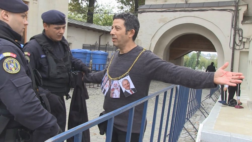 Alexandru Solomon is arrested only a minute into his action
